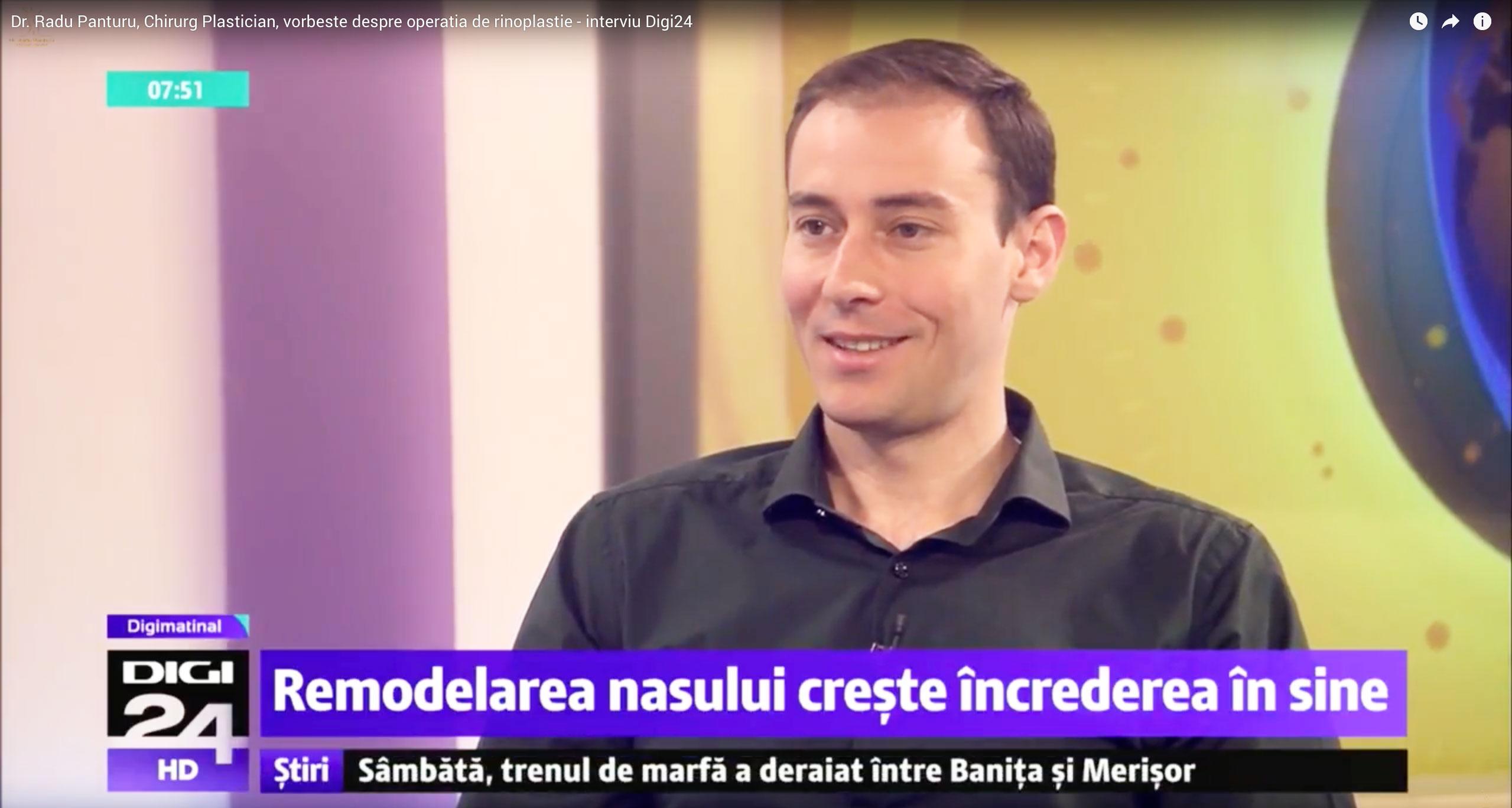 Avantaje si riscuri rinoplastie interviu Dr. Radu Panturu la Digi 24 Matinal